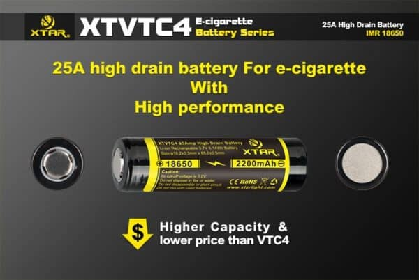 2 x Xtar XT-VTC4 18650 High Drain 2200mAh Unprotected Batteries 2
