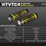 2 x Xtar XT-VTC4 18650 High Drain 2200mAh Unprotected Batteries 3