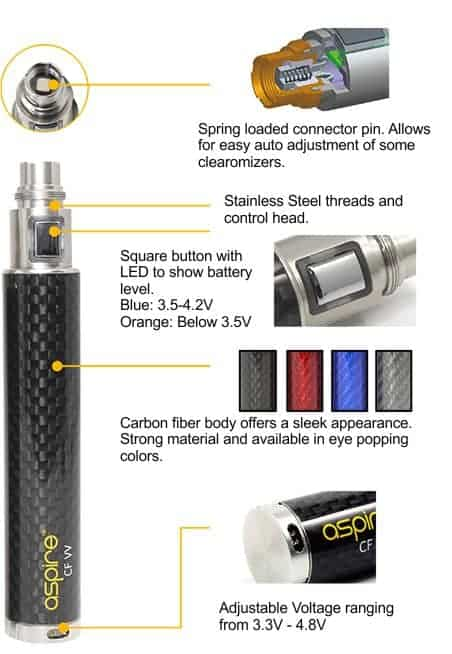 Aspire CF VV 1600 mAh Battery 1