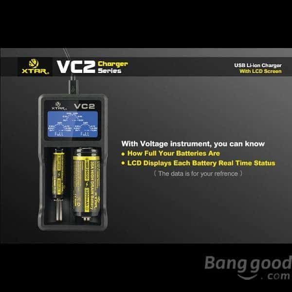 Xtar VC2 Dual Bay Battery Charger & Tester 1