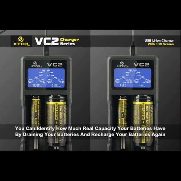 Xtar VC2 Dual Bay Battery Charger & Tester 2