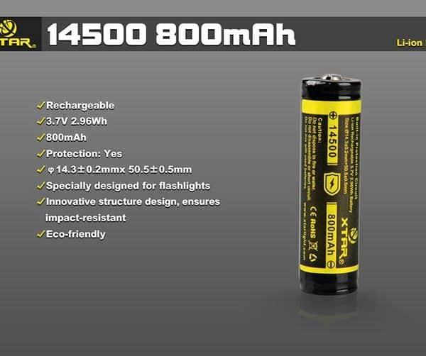 XTAR 14500 800mAh Battery 2