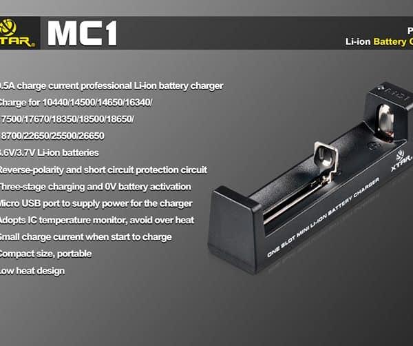 Xtar MC1 Single Bay Lithium-ion Battery Charger 3
